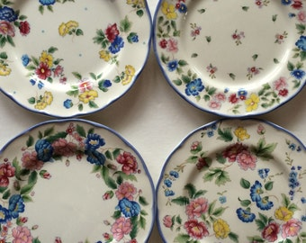Vintage Laura Ashley Hazelbury Plates - Absolutely Enchanting Small Plates- Sweet Floral Pattern - 4 Available