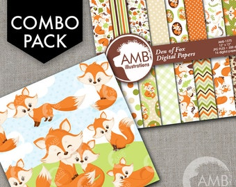 COMBO Red Foxes Clipart and Digital Papers Pack, Forest animals, Party invitations, Vixen and Pups images, Commercial Use, AMB-1614