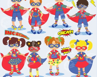 Superhero Clipart,  Super Girl and Super Boy Clipart, Comic Book Word Bursts Clipart, Caped Hero, African American, Commercial Use, AMB-114
