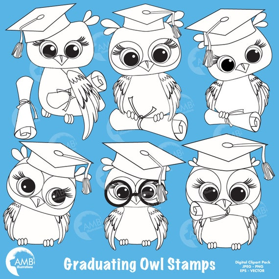 Graduation Owl Clipart, Owl Digital Stamps, coloring page ...