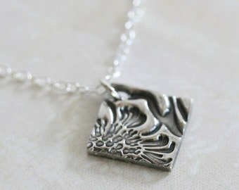 Handmade silver necklace, Square pendant, Silver pendant, dainty jewelry, simple silver necklace, Flower necklace, Simple jewelry
