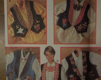 Simplicity 0611, size 12, 14,16, misses, womens UNCUT sewing pattern, craft supplies, lined vests with embellishments