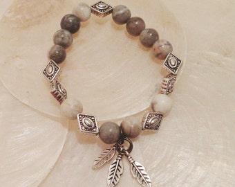 Feather Bracelet: Zebra Jasper