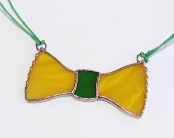 Stained Glass Necklace Yellow Bow Tie Handmade Jewelry Glass Jewelry Glass Jewelry Unique