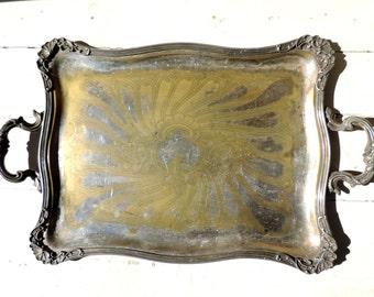 French Vintage Serving Tray With Handles/ Vintage Serving Tray/French Vintage Tray With Handles/Shabby Chic Serving Tray