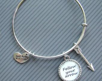 Expandable bangle arrow bracelet, charm bracelet, stackable bracelet