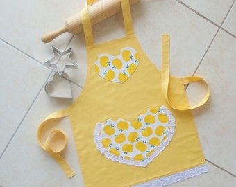 Girls Apron yellow, kids kitchen play craft art apron, childs apron with heart pocket, yellow apples & lace apron, Heart apron, Sweet Apples