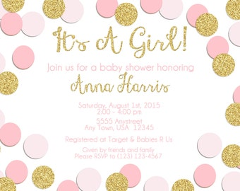 Pink & Gold Shabby Chic Baby Shower Invitation
