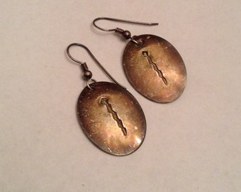 Earring Set Primitive Sterling Silver Abstract Design