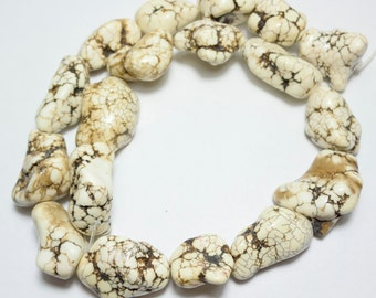 White Howlite Beads - Howlite Nugget Beads - Ivory White Nuggets - Gemstone with Dark Matrix - Turquoise Beads - 9 pcs