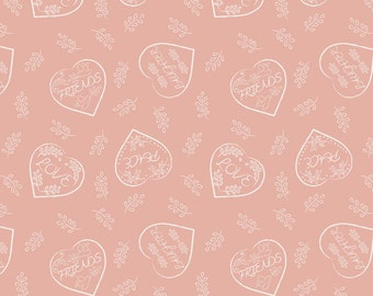 Lewis & Irene Patchwork Quilting Fabric Dove House A166.2 - Chalk hearts on blush