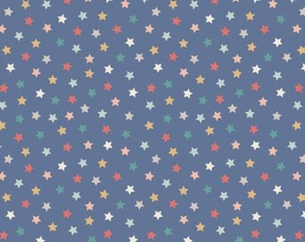 Lewis & Irene Patchwork Quilting Fabric Vintage Circus A144.3 Little stars blue