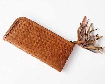 Woven Leather Wallet / Tan Leather Wallet / Tan Woven Leather Purse / Large Leather Wallet / Oversized Leather Wallet Women