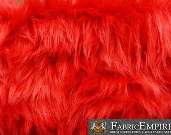 """Faux Fur Fabric Long Pile Monkey Shaggy FIRE RED / 60"""" Wide / Sold by the yard"""