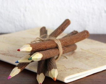 "7"" Handmade Wooden Natural Twig Branch Coloured Pencils - Group of 6"