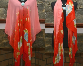 New Vintage Pink Floral Print Versatile Beach Cover Up Poncho Top blouse Scarf Free size US 8-24
