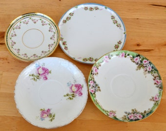 Collection of 4 pink Shabby Chic rose saucer plates France, Bavaria, Japan