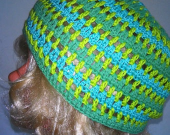BLACK FRIDAY SALE! Crocheted green Mixed Color Beanie Hat, Hand Crocheted Hat Womens Hat striped hat Hat striped  beanie