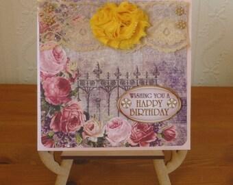 Shabby Chic Ladies Birthday Card