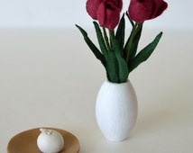 Flower bouquet_1:6 scale dark red flowers  in a vase with round candle on a plate_barbie size_playscale home decor_doll diorama flowers_