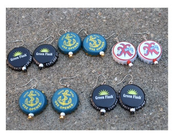 Hand-Made Beer Bottle Cap Earring, California Craft Beer (Acme Beer & Brewing, Green Flash Brewing Company, Anchor Brewing), Recycled Art
