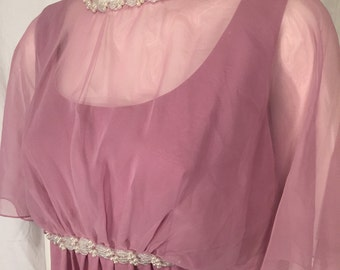 Vintage Medium M Mauve Rose Pink Pearls and Silver Beads Sheer Overlay Formal Column 70s Dress