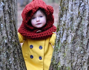 Hooded Bear Cowl - Choose your own color - Baby Bear Neck Warmer - Bear Hood Hat - Kids Cowl - Kids Winter Bear Hat - Bear Neck Warmer