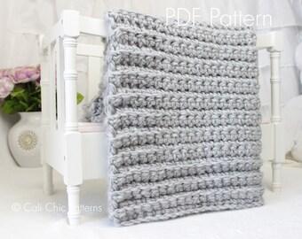 Beginner Crochet PATTERN 101 - Simply Chic - Baby Afghan Pattern - EASY - 2 sizes - Beginner Crochet Baby Blanket & Blanket Throw