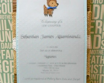 Burlap and lace invitation - Set of 12