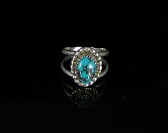 Chinese Turquoise Ring Sterling Silver Handmade Size 6.5, R0448
