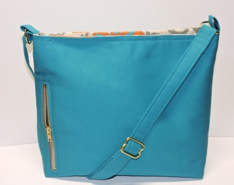 Aqua Blue Canvas Conceal Carry Purse/Handbag/Tote/CCW