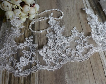 Alencon Lace Trim in Ivory for Bridal, Veils, Gowns, Costume or Jewelry Design