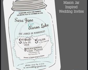 Printable Customizable Mason Jar Style Wedding Invitation; Rustic Wedding Invite; DIY Wedding Invitation