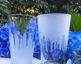 Tulsa Skyline Pint Glass, (Set of 2),Beer Pint,Gift for him,Beer lovers,House warming gift,Glass,Tulsa Oklahoma