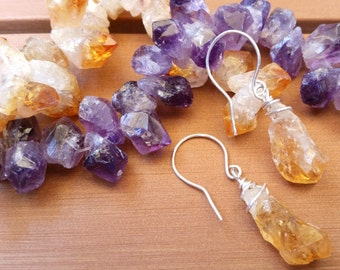 Minimalist Small Citrine or Amethyst Point Earrings, Amethyst Necklace, Citrine Jewelry, Small Stones, February & November Birthstone Gift