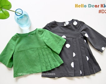 Kid's sewing pattern pdf/Toddler Kids/ Little Girl dress and blouse / pleated dress & blouse/ sizes 2T to 7Years.