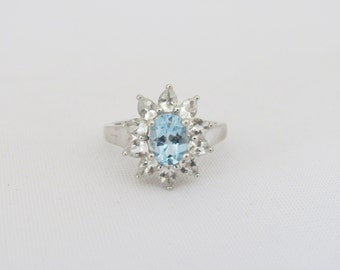 Vintage Sterling Silver Aquamarine & White Topaz Ring Size 8.25