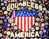 "Vintage 1993 God Bless America Springbok 500 Piece 20"" x 20"" Interlocking Jigsaw Puzzle Americana Patriotic Campaign Buttons Flags Hallmark"