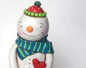 Chubby Snowman with Heart folk art sculpture from polymer clay