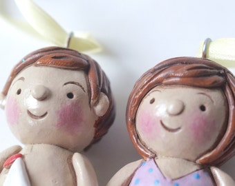 Set of TWO Beach Kids in Bathing Suits Ornament folk art ornament