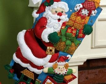 "Bucilla ~ Gifts from Santa ~ 18"" Christmas Stocking Kit #86304 DIY"