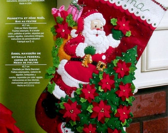 "Bucilla Santa Poinsettia Tree ~ 18"" Felt Christmas Stocking Kit #86142 Flowers DIY"