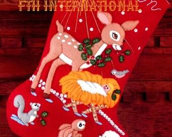 "DIY Bucilla Manger Scene ~ 15"" Felt Christmas Stocking Kit #32964, Nativity, Baby"