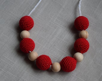 Crochet Nursing Necklace - Breastfeeding Necklace - Teething necklace with crochet beads red