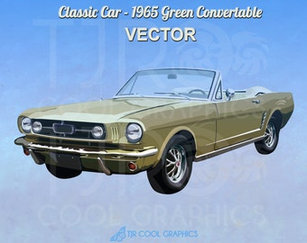 Classic Car 1965 Green Convertible Digital Realistic Clip Art, Vector, Printable, Vehicle, Engine