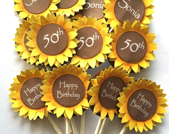 12 Sunflower Cup Cake Toppers. Birthday Decorations. Sunflower Party Supplies.