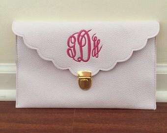 White Monogrammed Clutch - Scallop Edge - Clutch - Vegan Leather