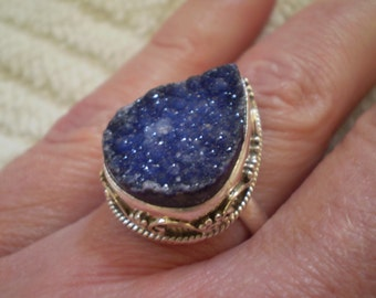 Blue Drusy (Natural) 925 Sterling Silver Ring Size 7.75