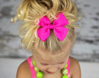 "Ready to ship! Large 4"" neon hot pink hair bow hairbow or headband"