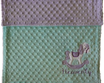 Rocking Horse Minky Blanket, Baby Girl Lilac and Mint Minky Blanket, Custom Minky Blanket, Horse Blanket